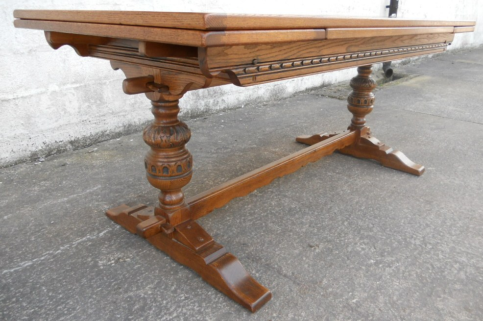 Large Oak Extending Drawleaf Refectory Style Dining Table  : large oak extending drawleaf refectory style dining table to seat ten by old charm sold 3 2147 p from www.harrisonantiquefurniture.co.uk size 986 x 655 jpeg 235kB